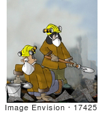 #17425 Search And Rescue Team Digging Through Rubble Clipart
