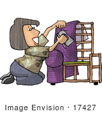 #17427 Woman Applying Purple Upholstery To A Chair Frame Clipart