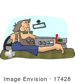 #17428 Taxi Driver With Missing Teeth Looking Back Over His Shoulder Clipart