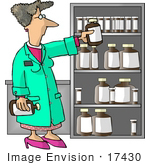 #17430 Female Pharmacist by a Shelf of Medicine Clipart by DJArt