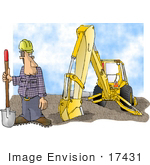 #17431 Construction Worker Man In A Hardhat With A Shovel And Backhoe Clipart