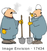 #17434 Two Men With Shovels Enjoying Cigarettes On A Smoke Break Clipart