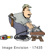 #17435 Carpenter Man Bending Over A Power Saw To Cut Wood Clipart