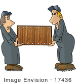 #17436 Moving Men Carrying A Wooden Box Clipart