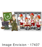 #17437 Football Team Discussing The Play Clipart