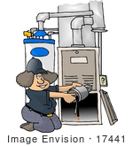 #17441 Woman Repairing a Heater Furnace Clipart by DJArt