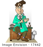 #17442 Male Doctor In A Green Jacket Wearing A Stethoscope Around His Neck And Sitting On His Desk Clipart