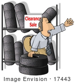 #17443 Tire Sales Man With Tires On Clearance Clipart