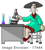#17444 Lab Technician Woman Using A Microscope Clipart