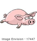 #17447 Pig Lying On Its Stomach Clipart