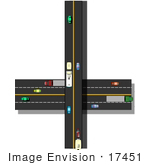 #17451 Traffic On Crossroads Highways Clipart