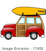 #17452 Woody Station Wagon Car With A Yellow Surfboard Clipart