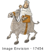#17454 Arabian Man Riding A Camel Clipart