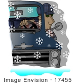 #17455 Man Looking Out A Truck Window Trying To See Through Big Snowflakes While Driving Clipart