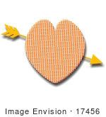 #17456 Tiny Heart Patterned Heart With An Arrow Clipart