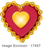 #17457 Chained Golden and Red Heart Clipart by DJArt