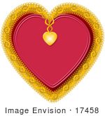 #17458 Golden And Doily Heart Clipart
