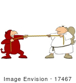 #17467 Angel And Devil Playing Tug Of War Good Vs Evil Clipart