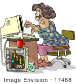 #17468 Computer Hacker Woman On A Computer Clipart