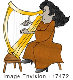 #17472 Female Playing A Golden Harp Clipart