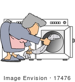 #17476 Woman Putting Clothes in a Dryer Clipart by DJArt