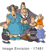 #17481 Children With Their Grandparents Clipart