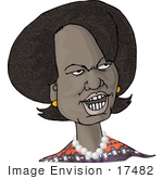 #17482 Condoleezza Rice Caricature Clipart