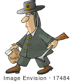 #17484 Pilgrim Turkey Hunter Man Carrying A Blunderbuss Gun And Frozen Turkey Clipart