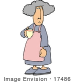 #17486 Elderly Woman Holding a Cup of Coffee Clipart by DJArt