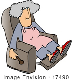 #17490 Senior Woman In A Recliner Chair Clipart