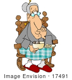#17491 Old Woman in a Rocking Chair, Eating Cookies Clipart by DJArt