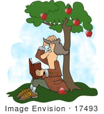 #17493 Isaac Newton Reading A Book Under An Apple Tree Clipart