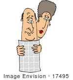 #17495 Middle Aged Caucasian Couple Reading A Newspaper Clipart