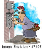#17496 Electrician Man Working On An Electrical Box Clipart