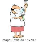 #17507 Caucasian Man Shaving Clipart