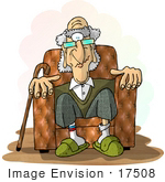 #17508 Senior Man Sitting In A Chair Clipart