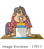 #17511 Boy Or Man Blowing Out Candles On A Birthday Cake Clipart