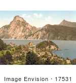 #17531 Photo Of The Village Of Traunkirchen On Traunsee Lake With A View Towards Traunstein Upper Austria