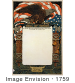 #1759 Stock Photography Of An American Flag And Bald Eagle On A Blank Scroll For The Roll Of Honor