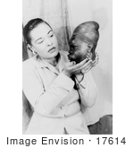 #17614 Picture Of Blues Singer Billie Holiday Holding An African American Statue