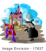 #17637 Warty Old Halloween Witch Casting A Spell On A Prince In Front Of A Castle Clipart