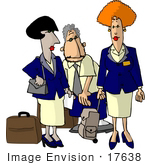 #17638 Group Of One Man And Two Women Flight Attendants With Luggage Clipart