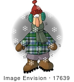 #17639 Man In Winter Clothing Freezing Cold In The Winter Snow Clipart