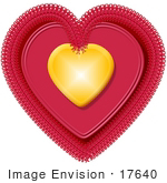 #17640 Gold And Pink Doily Valentines Day Heart Clipart