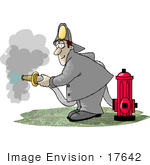 #17642 Firefighter Fire Man By A Hydrant Using A Hose Clipart