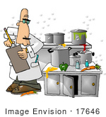 #17646 Food Health Inspector In A Gross Kitchen With Spills And Gnats Clipart