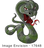 #17648 Mean Green Cobra Snake With Fangs Clipart