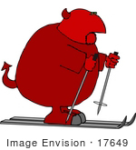 #17649 Fat Devil Man Skiing With Ski Poles Clipart
