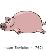 #17651 Pink Pig Lying Flat On Its Stomach Clipart