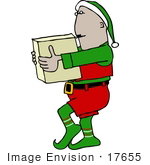 #17655 Santa'S Elf Carrying A Box Clipart